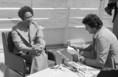 Muammar Al-Kadhafi nyilatkozik Churdinák Alajosnak a TV- munkatársának