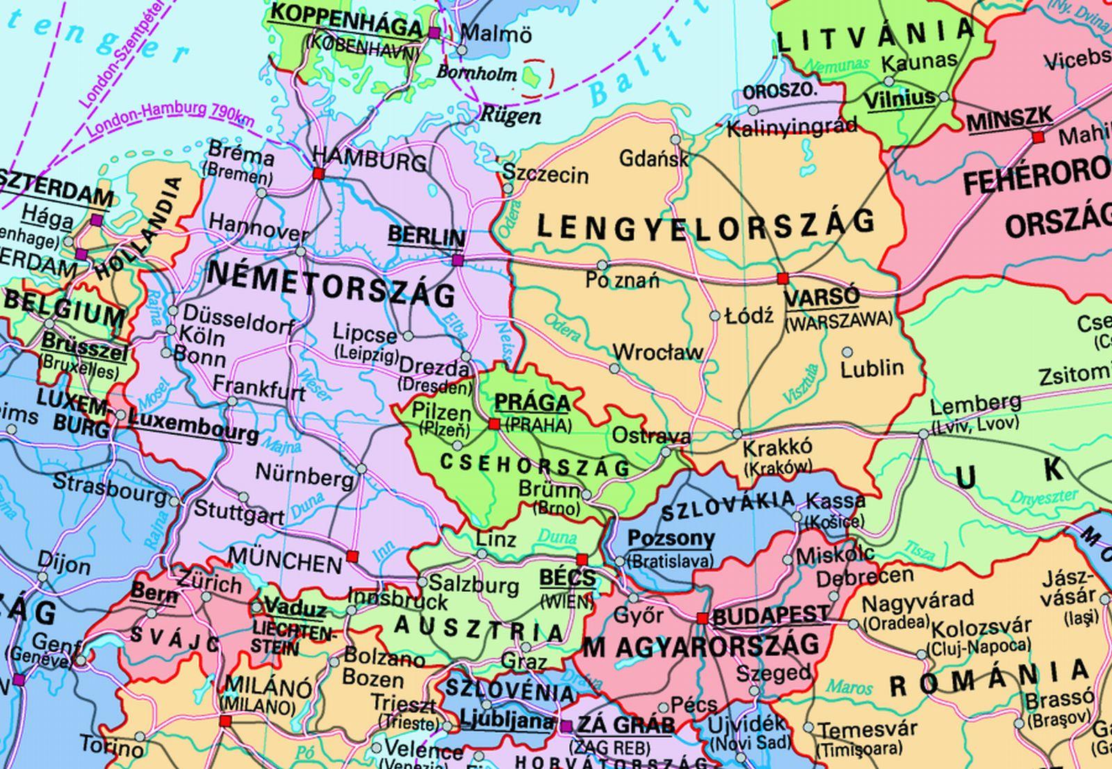 magyarország és szomszédai térkép Közlekedési földrajz | SuliTudásbázis magyarország és szomszédai térkép