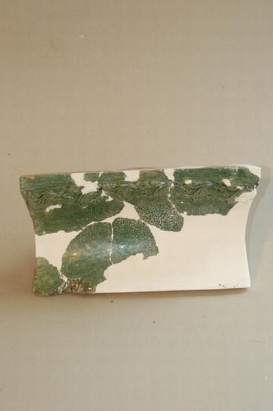 Mátyás-kori zöld mázas párkánycsempe