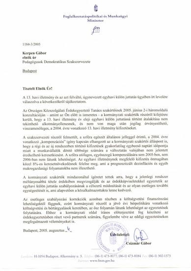 Egy hivatalos levél