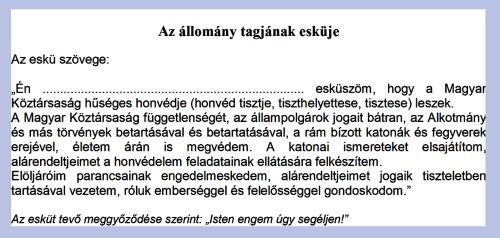 A Magyar Honvédség hivatásos állományú tagjának esküje