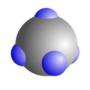 A metánmolekula térkitöltős modellje