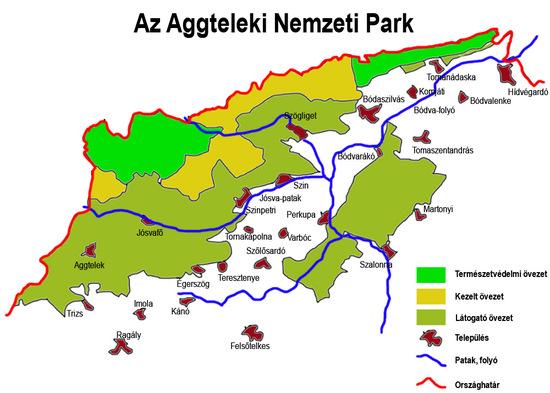 Az Aggteleki Nemzeti Park zónabeosztása