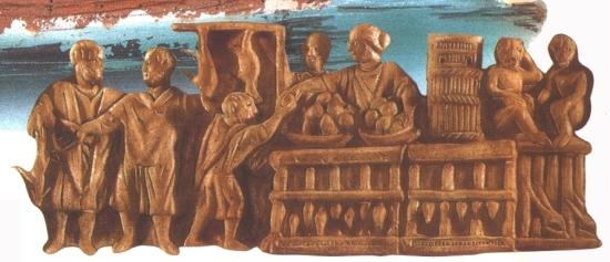 A római piacon gyümölcsöt vásárló ranszolga