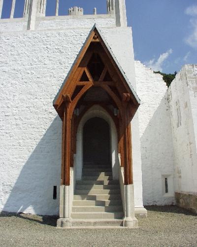 A visegrádi királyi palota földszinti nagytermének fedett lépcsős bejárata