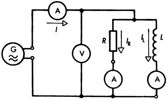 Párhuzamos RL kapcsolás mérési ábrája