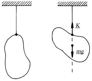 A súlyvonal a fölfüggesztő cérna által meghatározott egyenes