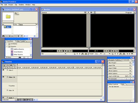 Adobe Premiere 6.5 felülete