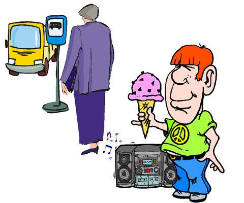 Fagylalttal és hangos zenével a megállóban