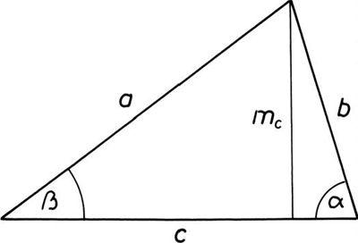 Hegyesszögű háromszög jelölései