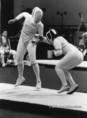 Rejtő Ildikó (j) és a francia Josland asszója XX. nyári olimpián Münchenben