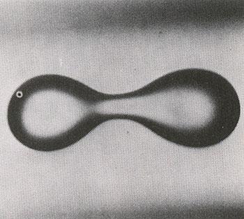 Az ábrán egy rezgésbe hozott vízcsepp látható, a kettészakadás előtti pillanatban