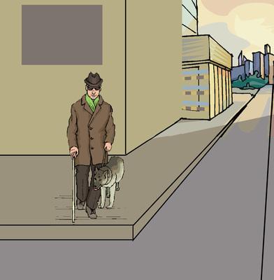 Vak ember útkereszteződésben egyedül