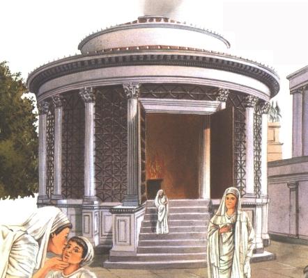 Vesta köralakú szentélye a Forum Romanumon