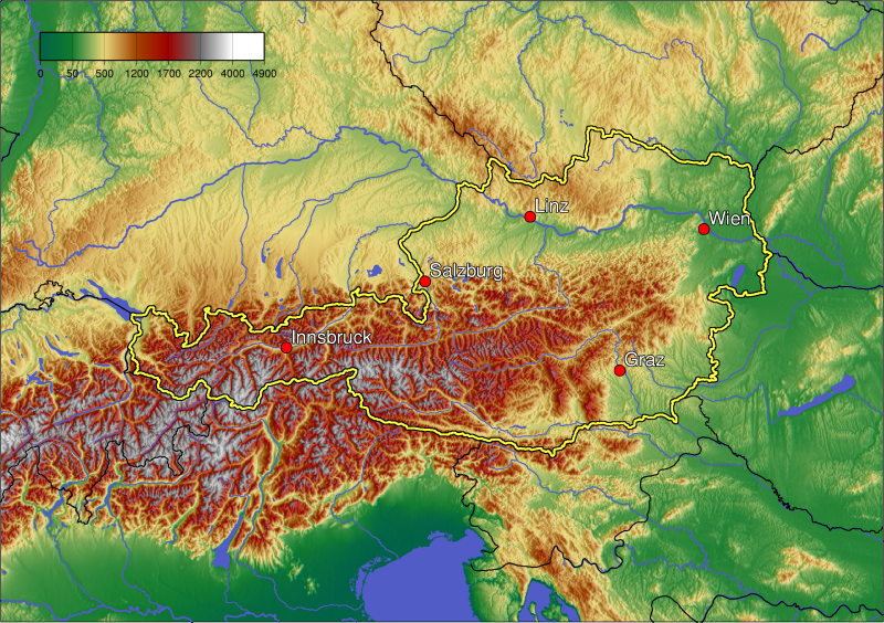 Ausztria domborzati képe