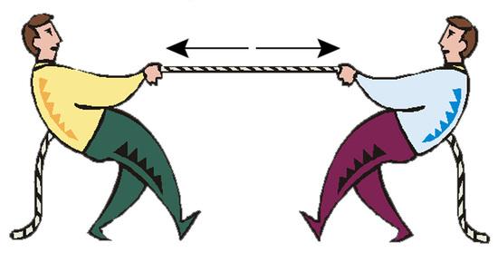 Erőhatások kötélhúzás közben