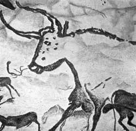 Őstulok egy őskori barlangfestményen (Lascaux-barlang, Franciaország)