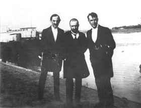 Juhász Gyula Babitscsal és Kosztolányival a Tisza partján