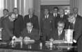 A.Gromiko és Puja Frigyes a magyar-szovjet kulturális és tudományos együttműködési egyezmény aláírásán