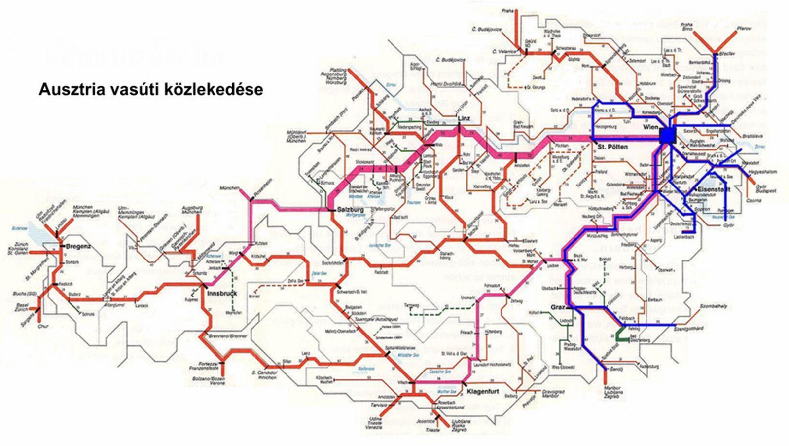 ausztria vasútvonalai térkép Közlekedési földrajz | SuliTudásbázis ausztria vasútvonalai térkép