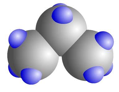 A propánmolekula kalotta modellje