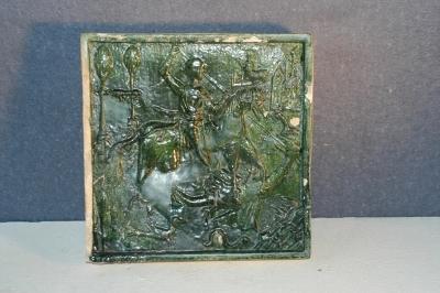 Zöldmázas kályhacsempe - Szent György ábrázolással