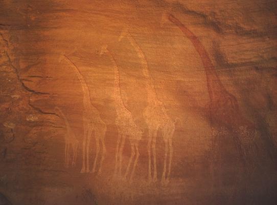 Zsiráfokat ábrázoló sziklafestmény (Észak-Afrika)