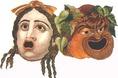 A színészek túlzó vonásokkal megrajzolt álarcot viseltek, hogy egyrételművé tegyék az általuk alakított személyiség típusát