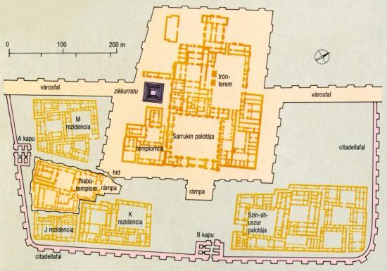 Dúr-Sarrukín, a mai Horszábád (Irak). II. Sarrukín palotájának alaprajza. Kr. e. 8. század.