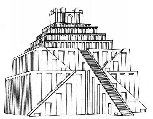 Babilon (Irak). Marduk isten toronytemplomának rekonstrukciós rajza. Kr. e. 6. század.