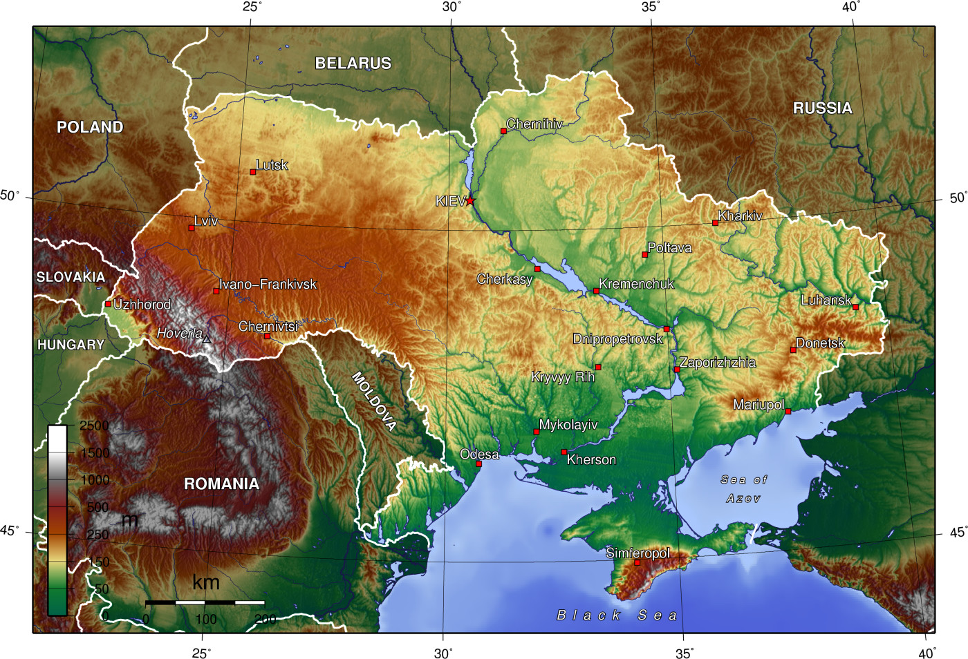 Ukrajna szerkezeti-domborzati térképe