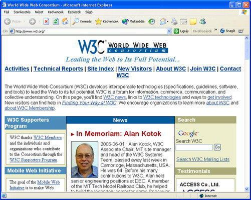 A W3C konzorcium homelapja